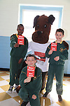 Ian Mugo, Calum Hodgins and Dawid Chrobocinski.students in St Josephs CBS with Jeff the ref part of the Show Racism the Red Card Workshop featuring Jeff the Ref.Picture: Fran Caffrey / www.newsfile.ie ..