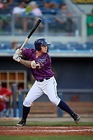 Charlotte Stone Crabs designated hitter Robbie Tenerowicz (1) at bat during a game against the Palm Beach Cardinals on April 21, 2018 at Charlotte Sports Park in Port Charlotte, Florida.  Charlotte defeated Palm Beach 5-2.  (Mike Janes/Four Seam Images)