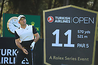 Francesco Molinari (ITA) during the second round of the Turkish Airlines Open, Montgomerie Maxx Royal Golf Club, Belek, Turkey. 08/11/2019<br /> Picture: Golffile | Phil INGLIS<br /> <br /> <br /> All photo usage must carry mandatory copyright credit (© Golffile | Phil INGLIS)