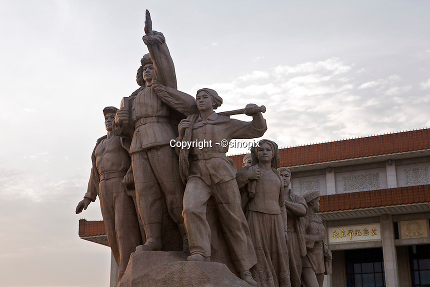 Statue of the people outside the Mao Zedong Memorial Hall in Tiananmen Square in Beijing, China..13 May 2009
