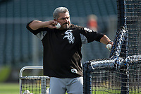 Chicago White Sox catching coach Mark Salas (59) throws batting practice prior to the game against the Detroit Tigers at Comerica Park on June 2, 2017 in Detroit, Michigan.  The Tigers defeated the White Sox 15-5.  (Brian Westerholt/Four Seam Images)
