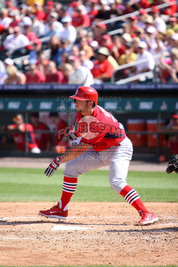 Greg Garcia (35) of the St. Louis Cardinals at bat during a spring training game against the Miami Marlins at the Roger Dean Complex in Jupiter, Florida on March 5, 2015. St. Louis defeated Miami 4-1. (Stacy Jo Grant/Four Seam Images)
