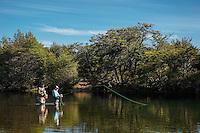 Christine Marozick and Martín Majul fish the Rio Corcovado in central Patagonia.