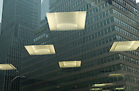 City Window Reflection - Office Ceiling Lights and Office Buildings Refected in a Window on 57th Street, Midtown Manhattan, New York City, New York State, USA