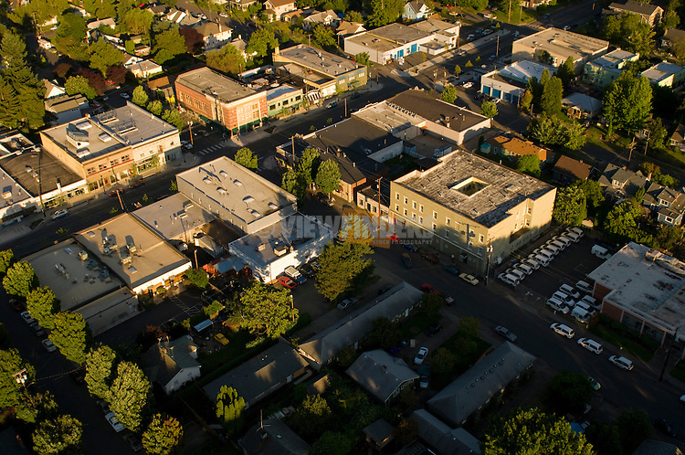 Aerial View of the Kenton Neighborhood, North Portland, Oregon