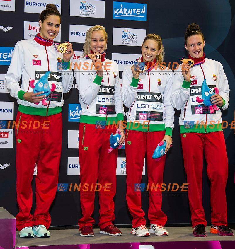 JAKABOS Zsuzsanna (L)<br /> KAPAS Boglarka<br /> VERRASZTO Evelyn<br /> HOSSZU Katinka<br /> Team Hungary Bronze Medal<br /> 4x200m Freestyle Women Final<br /> 32nd LEN European Championships <br /> Berlin, Germany 2014  Aug.13 th - Aug. 24 th<br /> Day09 - Aug. 21<br /> Photo G. Scala/Deepbluemedia/Inside
