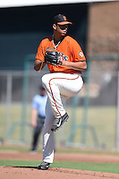 San Francisco Giants pitcher Joan Gregorio (76) during an Instructional League game against the Oakland Athletics on October 13, 2014 at Giants Baseball Complex in Scottsdale, Arizona.  (Mike Janes/Four Seam Images)