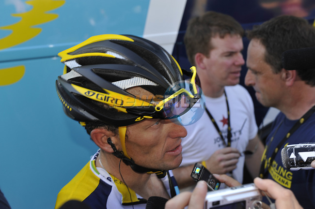 Lance Armstrong (USA) Astana talks to the media after Stage 2 of the Tour de France 2009 running 187km from Monaco to Brignoles, France. 5th July 2009 (Photo by Eoin Clarke/NEWSFILE)