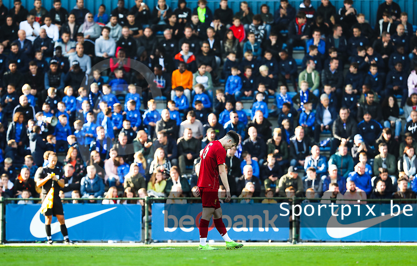 20191023 - Genk: Liverpool's Morgen Boyes is pictured with his head down, looking dejected during the UEFA Youth League group stages match between KRC Genk Youth and Liverpool FC on October 23, 2019 at KRC Genk Stadium Arena B, Genk, Belgium. PHOTO:  SPORTPIX.BE | SEVIL OKTEM