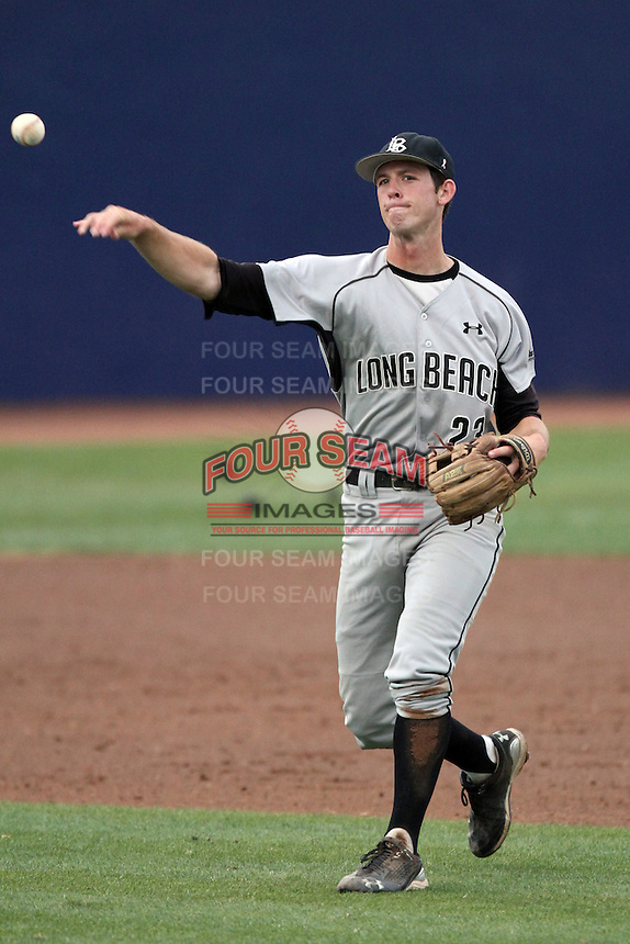 Michael Hill #23 of the Long Beach St. 49'ers makes a throw against the Cal. St. Fullerton Titans at Goodwin Field in Fullerton,California on May 14, 2011. Photo by Larry Goren/Four Seam Images