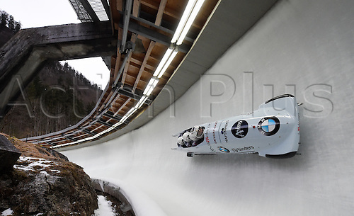 28.02.2016. Koenigssee, Germany.  Latvian bobbers Oskars Melbardis, Daumants Dreiskens, Arvis Vilkaste, and Janis Strengatake during the Bobsled World Cup in Koenigssee, Germany, 28 February 2016.