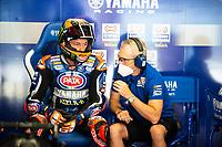 8th July 2020; Circuit de Barcelona Catalunya, Barcelona, Spain; FIM Superbike World Championship testing, Day One; Michael Van Der Mark of the Pata Yamaha WORLDSBK talks with a member of his team