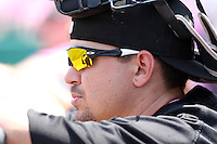 Erie Seawolves catcher John Murrian #32 in the dugout during a game against the Reading Phillies at Jerry Uht Park on May 29, 2011 in Erie, Pennsylvania.  Erie defeated Reading 6-5 in ten innings.  Photo By Mike Janes/Four Seam Images