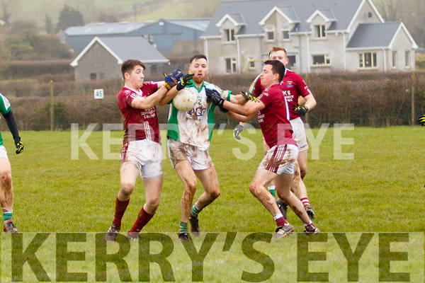Darren Houlihan and Emmet Casey, Cromane, look to disposess Shane Kenny, Ballybrown, during their sides clash in the Munster Junior B Club Football Final in Knockaderry