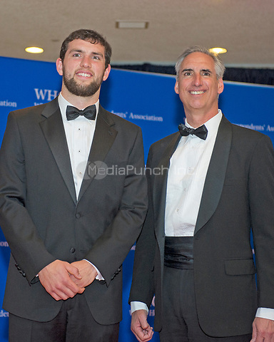 Andrew Luck, left, and Oliver Luck, right, arrive for the 2014 White House Correspondents Association Annual Dinner at the Washington Hilton Hotel on Saturday, May 3, 2014.<br /> Credit: Ron Sachs / CNP<br /> (RESTRICTION: NO New York or New Jersey Newspapers or newspapers within a 75 mile radius of New York City) /MediaPunch