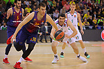 Turkish Airlines Euroleague 2017/2018.<br /> Regular Season - Round 13.<br /> FC Barcelona Lassa vs Unicaja Malaga: 83-90.<br /> Victor Claver vs Giorgi Shermadini.