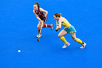 2nd February 2020; Sydney Olympic Park, Sydney, New South Wales, Australia; Womens International FIH Field Hockey, Australia versus Great Britain Women; Kalindi Commerford of Australia runs past Laura Unsworth of Great Britain