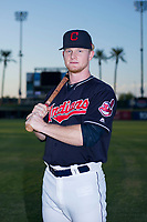 Mitch Reeves (23) of the AZL Indians poses for a photo before a game against the AZL Padres on August 30, 2017 at Goodyear Ball Park in Goodyear, Arizona. (Zachary Lucy/Four Seam Images)