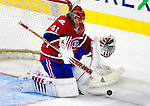 10 April 2010: Montreal Canadiens' goaltender Jaroslav Halak makes a third period save against the Toronto Maple Leafs at the Bell Centre in Montreal, Quebec, Canada. The Maple Leafs defeated the Canadiens 4-3 in sudden death overtime. Mandatory Credit: Ed Wolfstein Photo