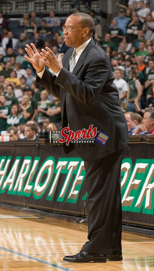 Wake Forest Demon Deacons assistant coach Jeff Battle gives his team instructions during second half action versus the Charlotte 49'ers at Bobcats Arena on November 29, 2007 in Charlotte, NC.