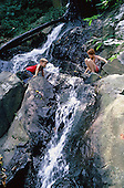 Waterfall with children