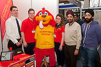 Nicholas Humphreys Student Homes had their mascot on display- pictured from left are Daniel Strain, Jonathan MacDonald, Fiona Baker with customers Balvinder Sokhi and Amritpal Sokhi