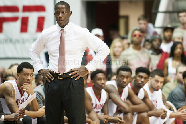 Head coach Anthony Grant of the Alabama Crimson Tide looks on during the game against the Kentucky Wildcats at Coleman Coliseum on Saturday, January 17, 2015 in in Tuscaloosa, AL. Kentucky defeated Alabama 70-48. Photo by Michael Reaves   Staff