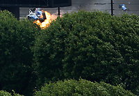 May 28, 2017; Indianapolis, IN, USA; IndyCar Series driver Scott Dixon (9) goes airborne and crashes on fire during the 101st Running of the Indianapolis 500 at Indianapolis Motor Speedway. Mandatory Credit: Mark J. Rebilas-USA TODAY Sports