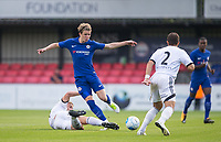 Jake Gallagher of Aldershot Town tackles brother Conor Gallagher of Chelsea U23 during the pre season friendly match between Aldershot Town and Chelsea U23 at the EBB Stadium, Aldershot, England on 19 July 2017. Photo by Andy Rowland / PRiME Media Images.