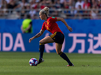 REIMS,  - JUNE 24: Mapi Leon #16 carries the ball during a game between NT v Spain and  at Stade Auguste Delaune on June 24, 2019 in Reims, France.