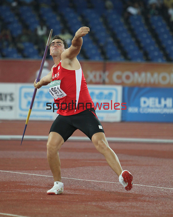 Delhi 2010 Commonwealth Games..Lee Doran (Wales) competing in the Mens Javelin..12.10.10.Photo Credit-Steve Pope-Sportingwales