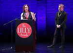 lori Myers and David Cromer on stage during the 9th Annual LILLY Awards at the Minetta Lane Theatre on May 21,2018 in New York City.