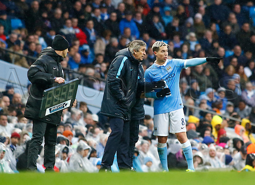 09.04.2016. The Emirates Stadium, Manchester, England. Barclays Premier League. Manchester City versus West Bromwich Albion. Manchester City manager Manuel Pellegrini instructs Samir Nasri from the technical area.