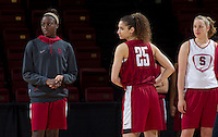 Stanford, CA., March 25, 2013,--  Chiney Ogwumike and Erica Payne both with the Stanford women's basketball team workout during team practice Monday, March 25, 2013, for there second round NCAA 2013, basketball championship game against Michigan, at Maples Pavilion.  ( Norbert von der Groeben )