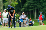 CROMWELL, CT. 21 June 2019-062119 - Former Oklahoma State standout golfer Viktor Hovland, who just turned pro makes a three footer for birdie on the first hole,  during the second round of the Travelers Championship at the TPC River Highlands in Cromwell on Thursday. Bill Shettle Republican-American