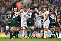 Tempers flare between both sides. Aviva Premiership match, between Leicester Tigers and Exeter Chiefs on September 30, 2017 at Welford Road in Leicester, England. Photo by: Patrick Khachfe / JMP