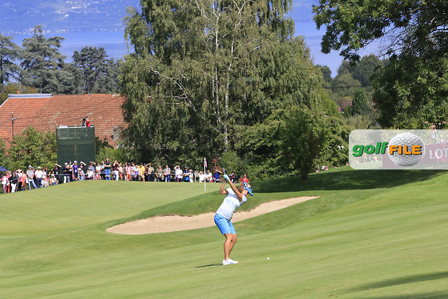 Lexi Thompson (USA) plays her 3rd shot on the 13th hole during Sunday's Final Round of the LPGA 2015 Evian Championship, held at the Evian Resort Golf Club, Evian les Bains, France. 13th September 2015.<br /> Picture Eoin Clarke | Golffile