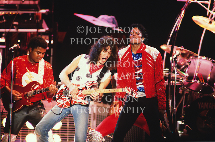 "Eddie Van Halen performs with Michael Jackson and the Jackson Brothers on the ""Victory"" Tour in 1984.  This was a one time event on the Victory tour.  The Jackson's performed a three night stint in Dallas and the Van Halen ""1984"" tour was in town at the same time.  Van Heln originally performed on the song, ""Beat It,"" which was on the 1982 ""Thriller"" album."