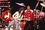 """Eddie Van Halen performs with Michael Jackson and the Jackson Brothers on the """"Victory"""" Tour in 1984.  This was a one time event on the Victory tour.  The Jackson's performed a three night stint in Dallas and the Van Halen """"1984"""" tour was in town at the same time.  Van Heln originally performed on the song, """"Beat It,"""" which was on the 1982 """"Thriller"""" album."""
