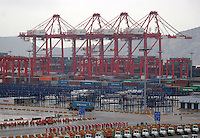 A view of the just completed Yangshan Deep Water Port in Shanghai, China. The port will give the city it's first deep water port, adding capacity to its already formidable shipping industry. Shanghai is expected to become world's largest freight port at the end of this year surpassing Singapore, according to materials provided by the Ministry of Commerce..