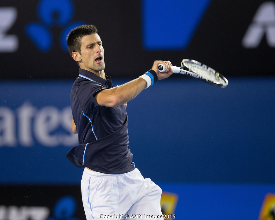 Novak Djokovic (SRB)<br /> <br /> Tennis - Australian Open 2015 - Grand Slam -  Melbourne Park - Melbourne - Victoria - Australia  - 24 January 2015. <br /> &copy; AMN IMAGES