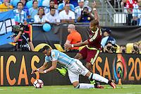 Foxborough, MA - Saturday June 18, 2016: Ramiro Funes Mori, Salomon Rondon prior to a Copa America Centenario quarterfinal match between Argentina (ARG) and Venezuela (VEN)  at Gillette Stadium.