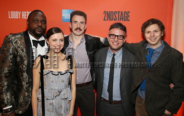 Brian Tyree Henry, Bel Powley, Chris Evans, Trip Cullman and Michael Cera attends the the Broadway Opening Night Performance After Party for 'Lobby Hero' at Bryant Park Grill on March 26, 2018 in New York City.