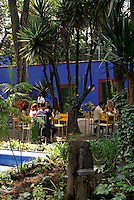 Outdoor cafe at the Museo Frida Kahlo, also known as the Casa Azul, or Blue house, Coyoacan, Mexico City