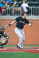 Gavin Sheets (24) of the Wake Forest Demon Deacons follows through on his swing against the Charlotte 49ers at Hayes Stadium on March 16, 2016 in Charlotte, North Carolina.  The 49ers defeated the Demon Deacons 7-6.  (Brian Westerholt/Four Seam Images)