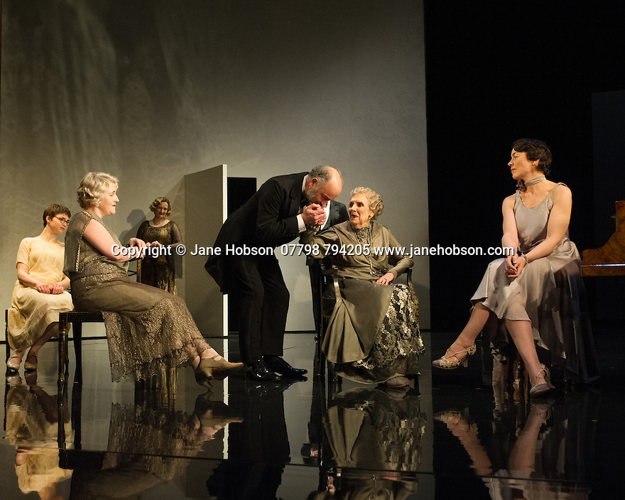 WASTE, by Harley Granville Barker, directed by Roger Michell, opens at the National Theatre. Picture shows: Emerald O'Hanrahan (Lucy Davenport), Sylvestra le Touzel (Frances Trebell), Lucy Robinson (Julia Farant), Louis Hilyer (Russell Blackborough), Doreen Mantle (Countess Mortimer), Olivia Williams (Amy O'Connell).