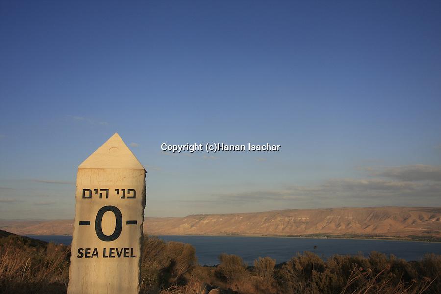 Israel, Lower Galilee. Sea level point on Mount Poriya overlooking the Sea of Galilee