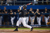 Ben Breazeale (39) of the Wake Forest Demon Deacons follows through on his swing against the Florida Gators in Game Three of the Gainesville Super Regional of the 2017 College World Series at Alfred McKethan Stadium at Perry Field on June 12, 2017 in Gainesville, Florida. The Gators defeated the Demon Deacons 3-0 to advance to the College World Series in Omaha, Nebraska. (Brian Westerholt/Four Seam Images)