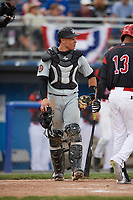 West Virginia Black Bears catcher Deon Stafford (57) during a game against the Batavia Muckdogs on June 25, 2017 at Dwyer Stadium in Batavia, New York.  Batavia defeated West Virginia 4-1 in nine innings of a scheduled seven inning game.  (Mike Janes/Four Seam Images)