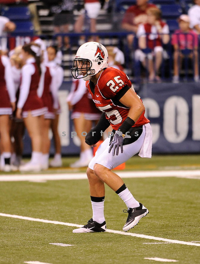 SEAN BAKER, of the Ball State Cardinals, in action during the Cardinals game against Indiana on September 3, 2011, at Lucas Oil Stadium in Indianapolis, IN. Ball State beat Indiana 27-20.